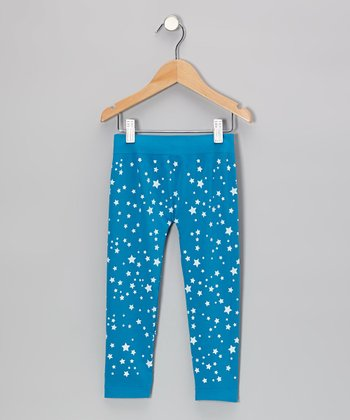 Turquoise Star Leggings - Girls