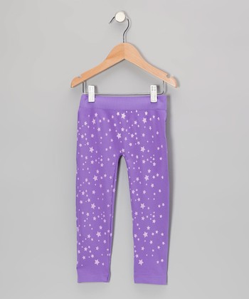Purple Star Leggings - Girls