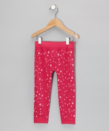 Fuchsia Star Leggings - Girls