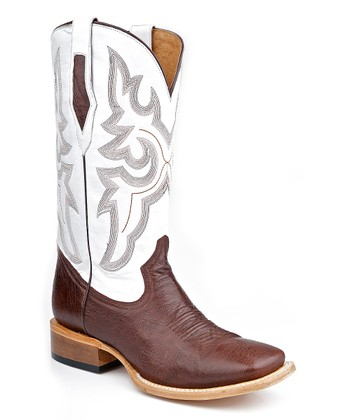 Brown & White Embroidered Leather Cowboy Boot - Men