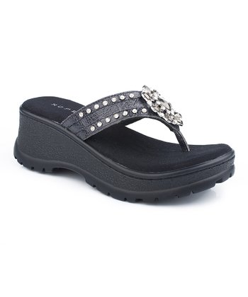 Black Ornament Wedge Sandal - Women