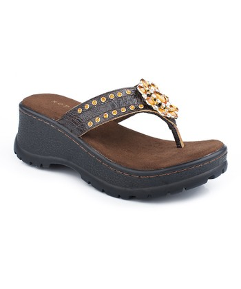 Brown Ornament Wedge Sandal - Women