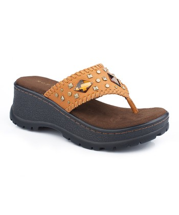 Tan Antique Studded Wedge Sandal - Women