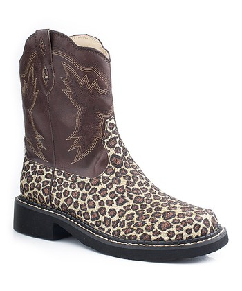 Brown Leopard Chunk Riderlite Cowboy Boot - Women