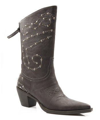Brown Studded Fashion Narrow-Toe Boot - Women