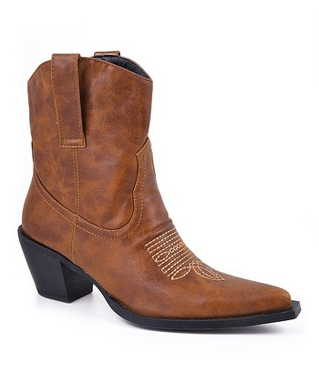 Tan Stitched Cowboy Boot - Women