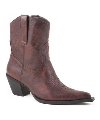 Brown Fashion Ankle Cowboy Boot - Women