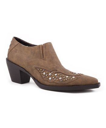 Tan Studded Ankle Boot - Women