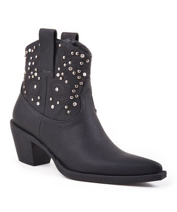 Black Studded Ankle Cowboy Boot - Women