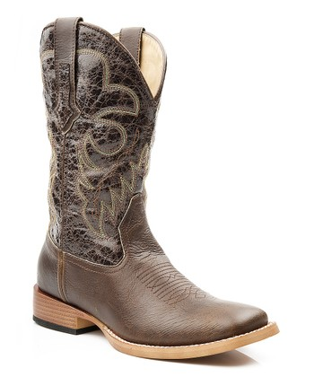 Brown Crinkled Cowboy Boot - Women