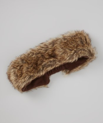 Brown Lined Faux Fur Head Wrap