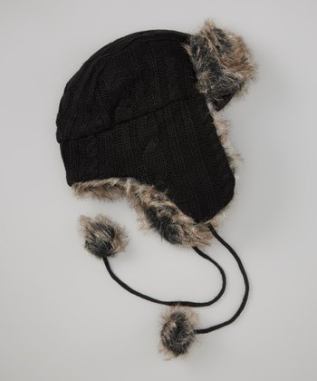 Black & Brown Knit Faux Fur Trapper Hat