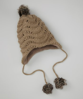 Brown & Gray Pom-Pom Beanie
