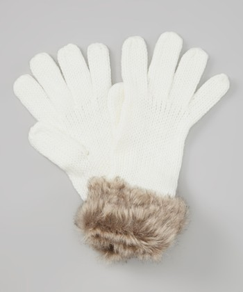 Natural & Brown Knit Faux Fur Gloves