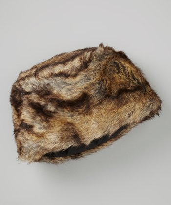 Brown & Black Faux Fur Hat