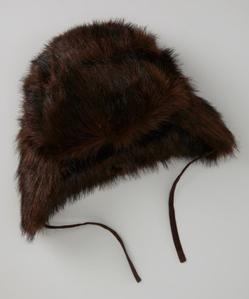 Brown & Black Faux Fur Trapper Hat