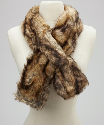 Brown & Black Faux Fur Scarf
