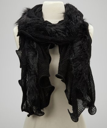 Black Ruffle Faux Fur Scarf
