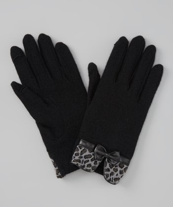 Black Leopard Bow Wool-Blend Touch Screen Gloves