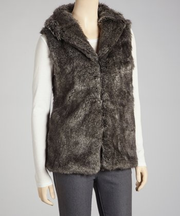Brown Faux Fur Vest - Women