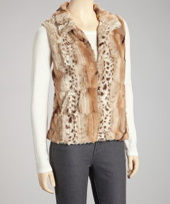 Ivory & Brown Stan Faux Fur Vest