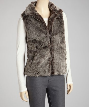 Charcoal Faux Fur Vest - Women