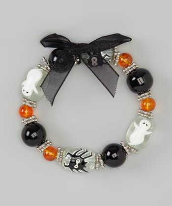 Black Ghost & Spider Beaded Bracelet & Earrings