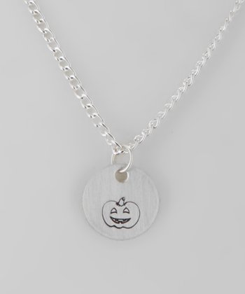 Sterling Silver Happy Pumpkin Round Pendant
