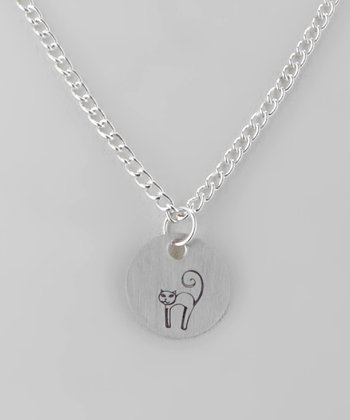 Sterling Silver Cat Round Pendant