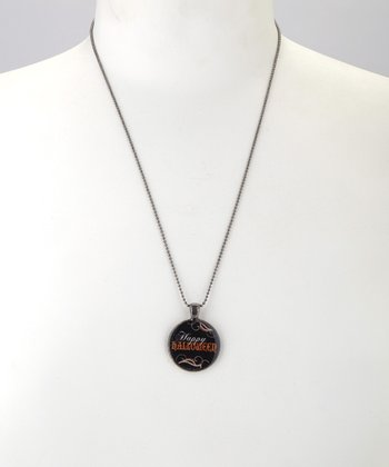 Antique Silver 'Happy Halloween' Pendant Necklace