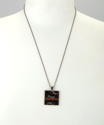 Antique Silver 'Happy Halloween' Square Pendant Necklace