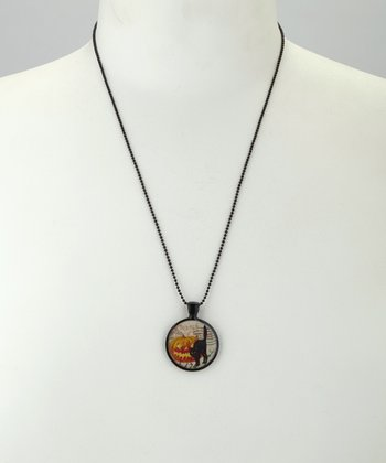 Black Scary Pumpkin Pendant Necklace