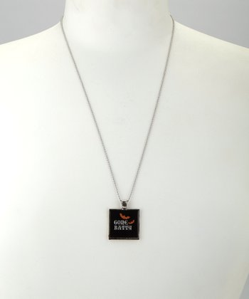 Antique Silver 'Gone Batty' Square Pendant Necklace