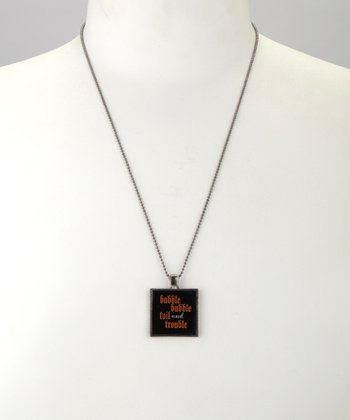 Antique Silver 'Toil and Trouble' Square Pendant Necklace