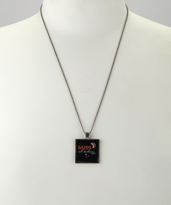 Antique Silver 'All Hallows Eve' Square Pendant Necklace