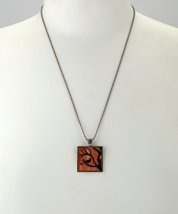 Antique Silver Crow Square Pendant Necklace