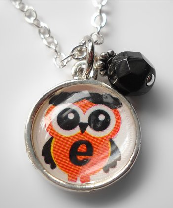 Black & Orange Owl Pendant Necklace