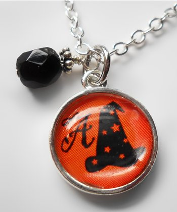 Black & Orange Witch Hat Pendant Necklace