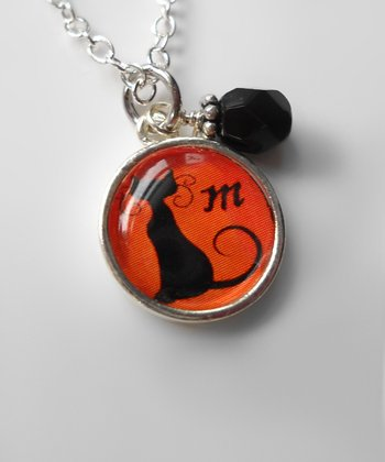 Black & Orange Cat Pendant Necklace