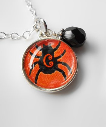 Black & Orange Spider Pendant Necklace