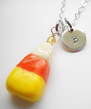 Orange & White Candy Corn Pendant Necklace
