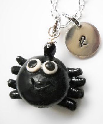 Black Spider Pendant Necklace