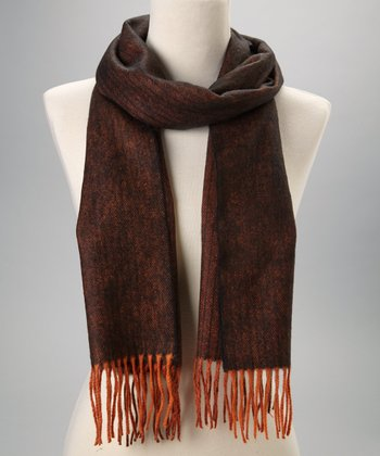 Orange & Black Cashmere Fringe Scarf