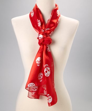 Red Skull Silk Scarf