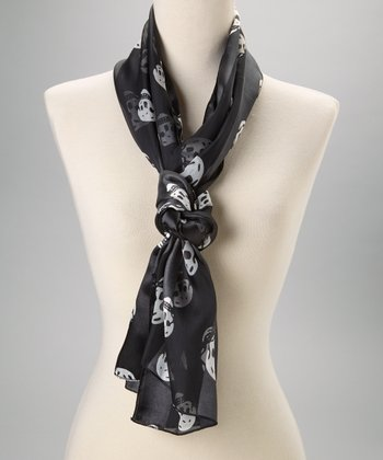 Black Silk Skull Scarf