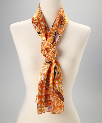 Orange Silk Jack-o'-Lantern Scarf