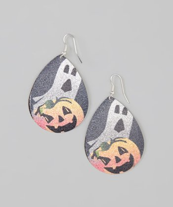 Orange & Black Ghost Frosted Drop Earrings