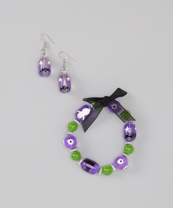 Purple Cat & Bat Beaded Bracelet & Earrings