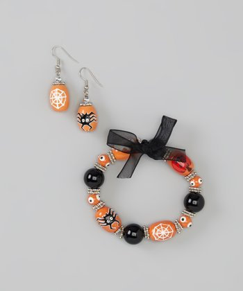 Orange Spider Beaded Bracelet & Earrings