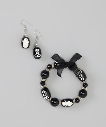 Black & Silver Ghost Beaded Bracelet